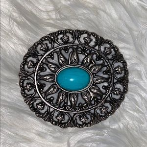 Silver Turquoise Belt Buckle.